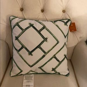 Green & White Outdoor Pillow